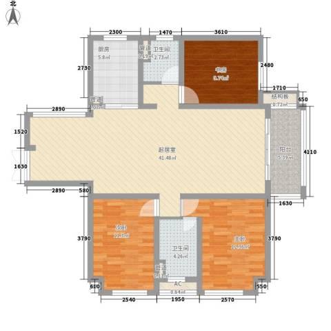 步阳御江金都3室0厅2卫1厨137.00㎡户型图