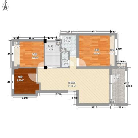 朗诗未来树3室0厅2卫1厨79.00㎡户型图