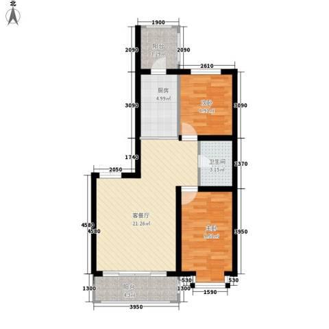 群力观江国际2室1厅1卫1厨77.00㎡户型图
