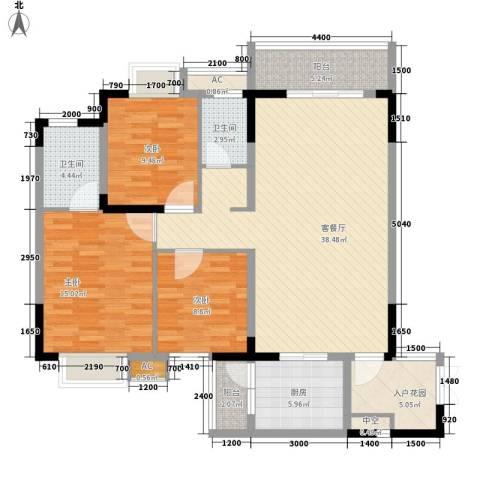 金碧文苑3室1厅2卫1厨125.00㎡户型图