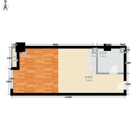 海亮国贸大厦1卫0厨55.00㎡户型图