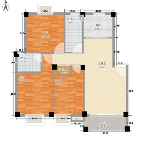 瀛聚大厦3室0厅2卫1厨138.00㎡户型图