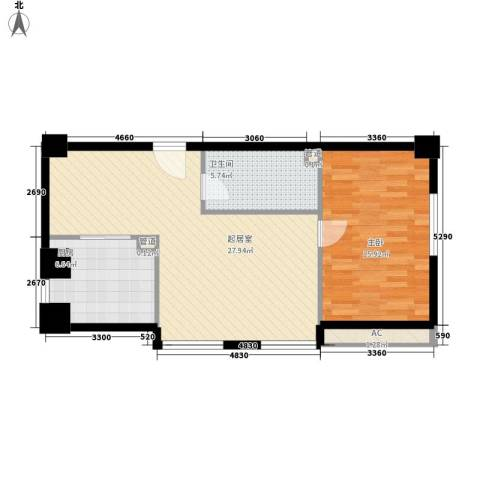 海亮国贸大厦1室0厅1卫1厨82.00㎡户型图