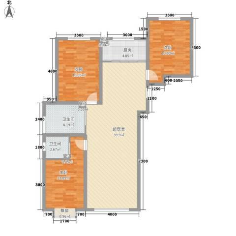 中研小区3室0厅2卫1厨132.00㎡户型图