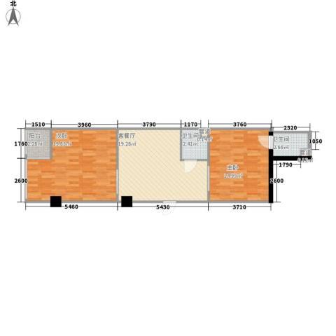 环球时代2室1厅2卫0厨83.00㎡户型图