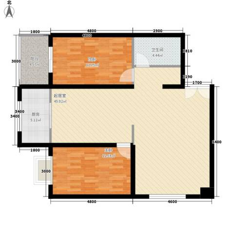 天和学府苑2室0厅1卫1厨99.00㎡户型图