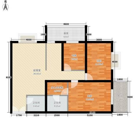 天和学府苑3室0厅2卫1厨133.00㎡户型图