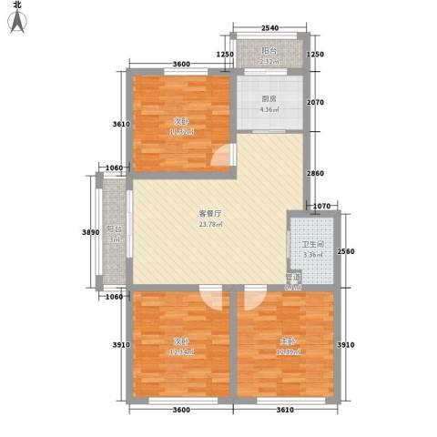 公安厅宿舍3室1厅1卫1厨84.34㎡户型图