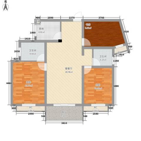 银河湾星苑3室1厅2卫1厨120.00㎡户型图