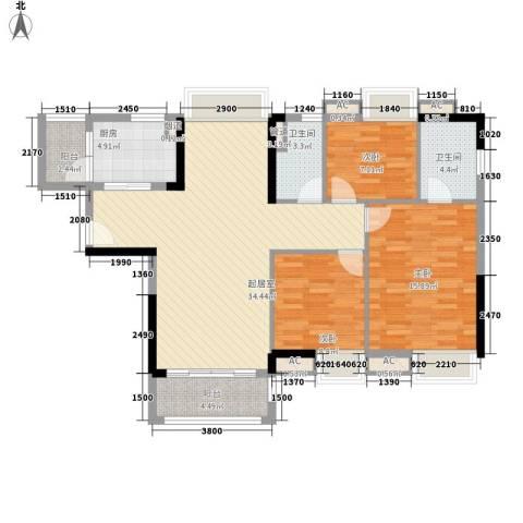 保利香槟国际3室0厅2卫1厨104.00㎡户型图