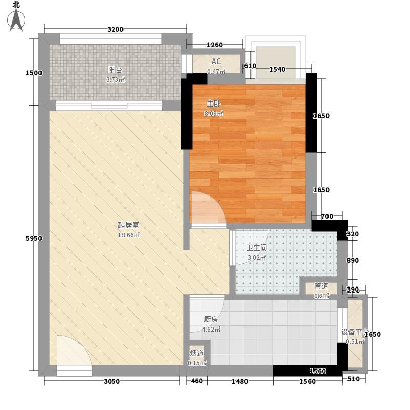 保利香槟国际50.00㎡4栋1梯04(约50㎡)户型1室2厅1卫1厨