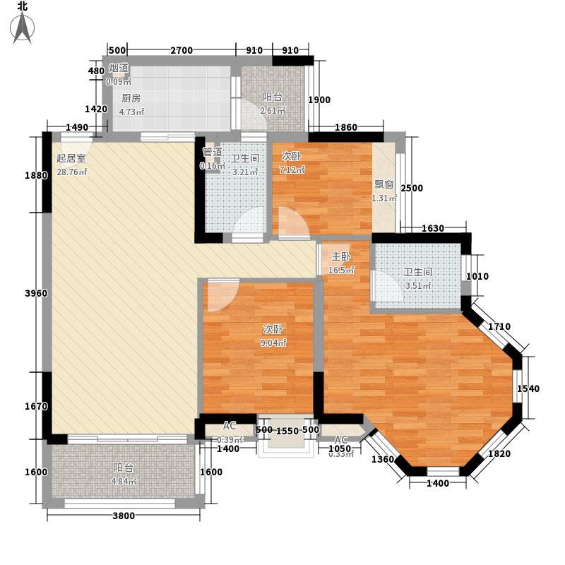 保利香槟国际103.00㎡4栋1梯01(约103㎡)户型3室2厅2卫1厨