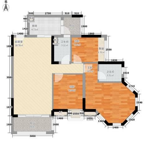 保利香槟国际3室0厅2卫1厨103.00㎡户型图