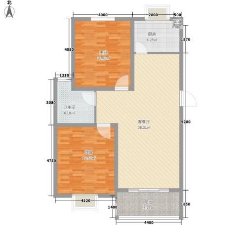 农房・英伦尊邸2室1厅1卫1厨129.00㎡户型图