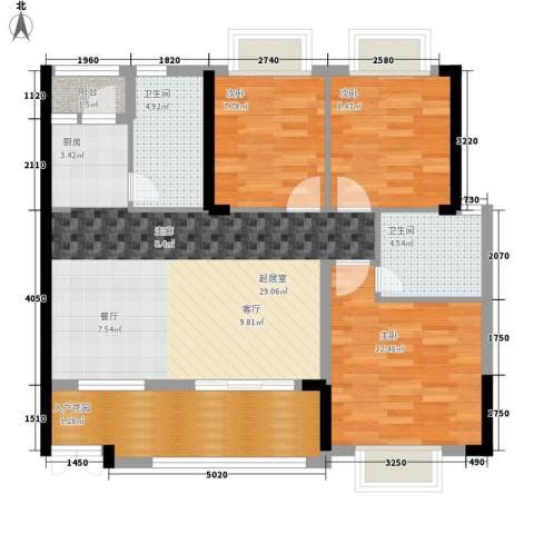 恒基御景华庭3室0厅2卫0厨102.00㎡户型图