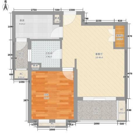 农房・英伦尊邸1室1厅1卫1厨66.00㎡户型图