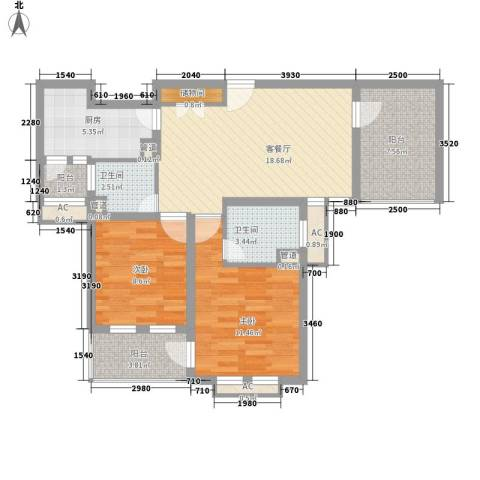 农房・英伦尊邸2室1厅2卫1厨98.00㎡户型图