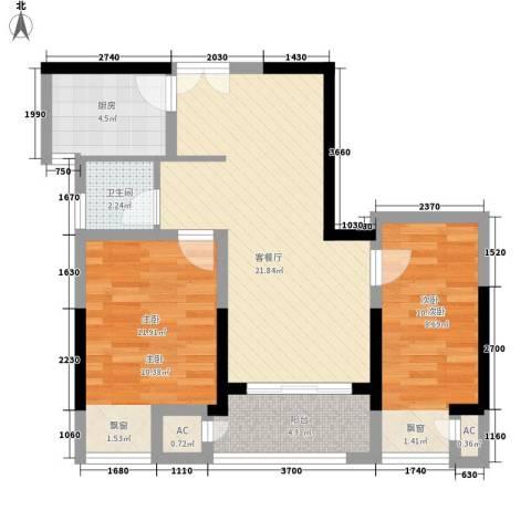 天凤国际大厦2室1厅1卫1厨82.00㎡户型图