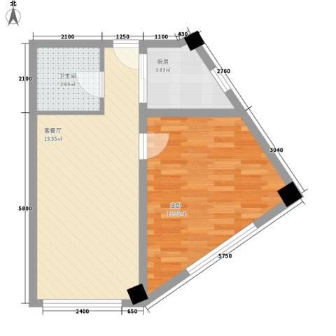 金坐标1室1厅1卫1厨72.00㎡户型图