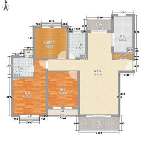 农房・英伦尊邸2室1厅2卫1厨131.00㎡户型图
