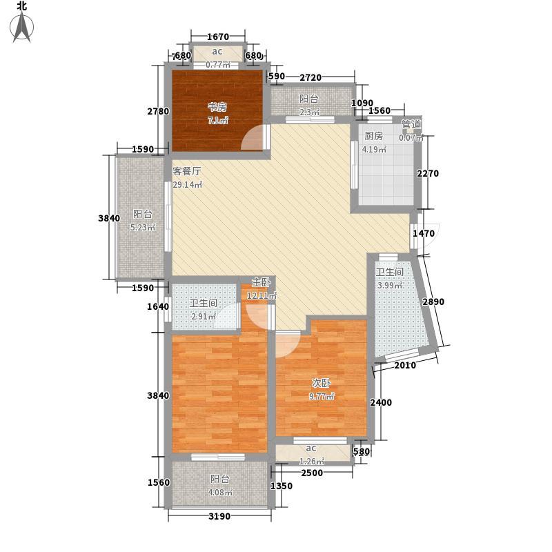 银河湾星苑121.00㎡A5户型3室2厅2卫1厨