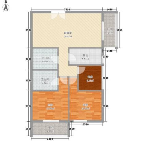 乐府国际公寓3室0厅2卫1厨119.00㎡户型图