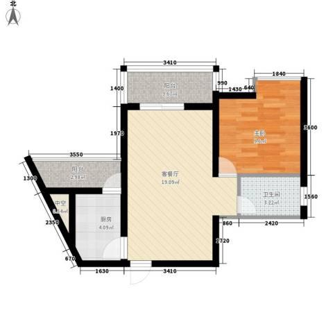 五指山・天之城1室1厅1卫1厨63.00㎡户型图