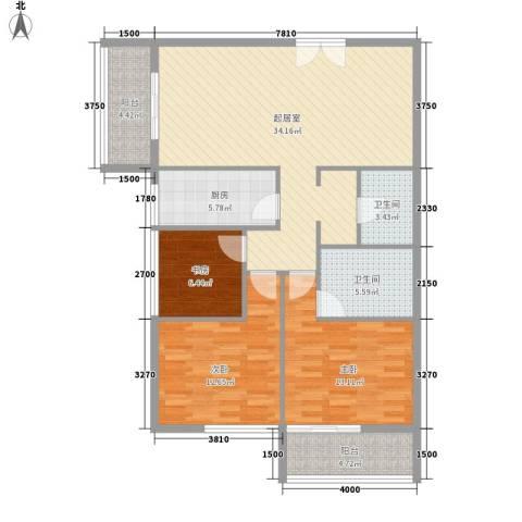乐府国际公寓3室0厅2卫1厨127.00㎡户型图