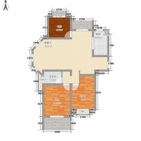 银河湾星苑3室1厅1卫1厨119.00㎡户型图
