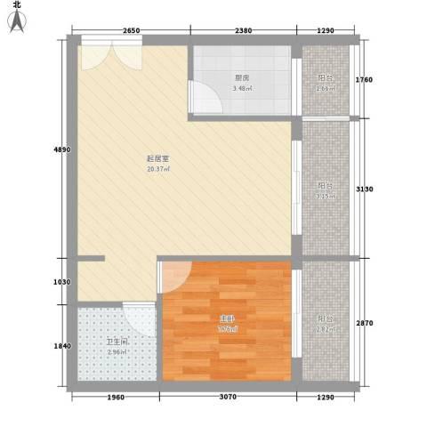 乐府国际公寓1室0厅1卫1厨61.00㎡户型图