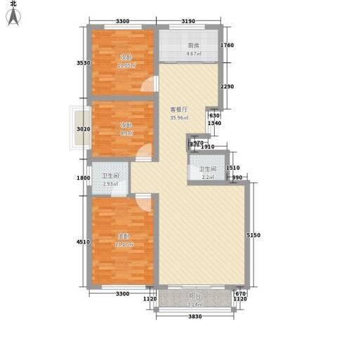 长飞小区3室1厅2卫1厨116.00㎡户型图
