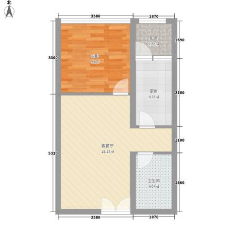 乐府国际公寓1室1厅1卫1厨57.00㎡户型图