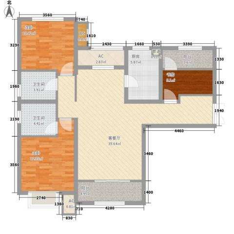 五矿榕园旷世公馆3室1厅2卫1厨130.00㎡户型图