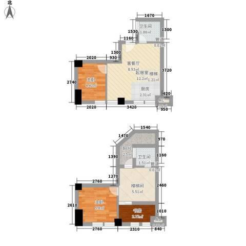 天凤国际大厦3室0厅2卫0厨57.00㎡户型图