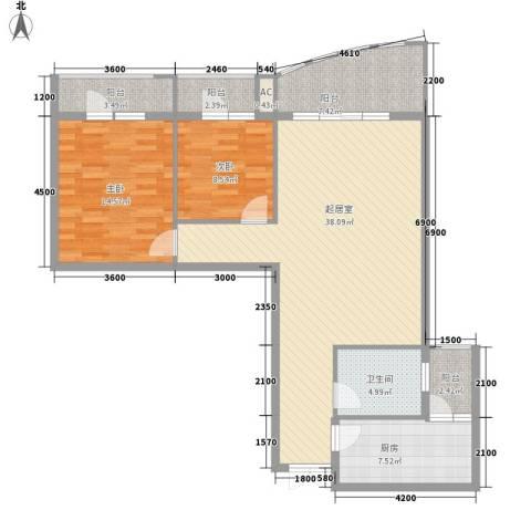金阳乾图中心广场2室0厅1卫1厨127.00㎡户型图