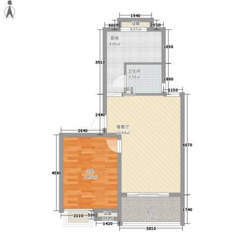 海德公园1室1厅1卫1厨63.83㎡户型图