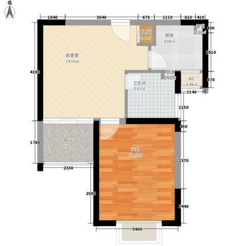 恒杰丁香花园1室0厅1卫1厨56.00㎡户型图