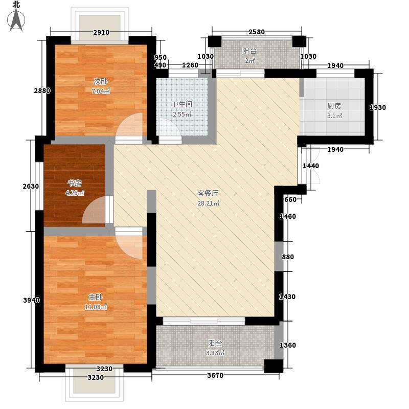 奥克斯盛世经典88.00㎡奥克斯2室户型2室