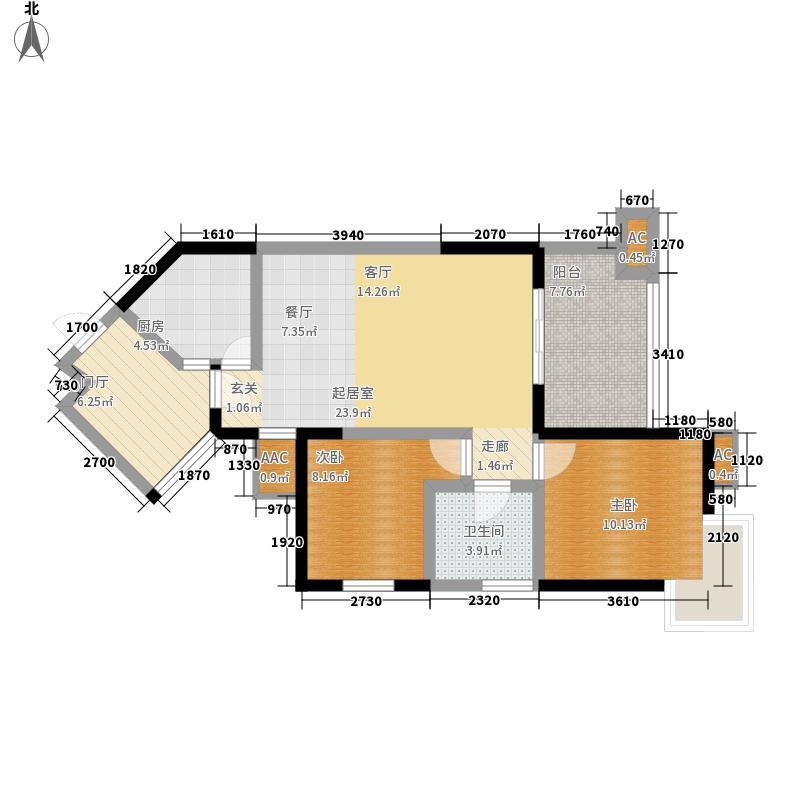 两河锦地77.96㎡C3型户型2室2厅1卫1厨