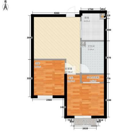 普罗旺斯2室0厅1卫1厨69.00㎡户型图