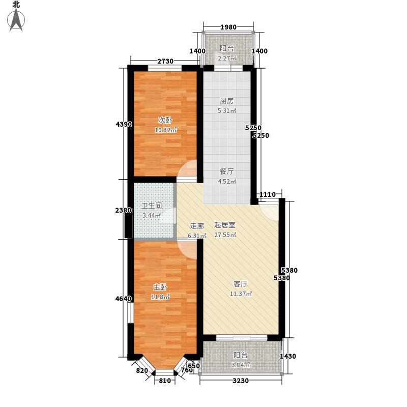 海富山水文园67.80㎡海富山水文园户型图二室一厅户型2室1厅1卫1厨户型2室1厅1卫1厨
