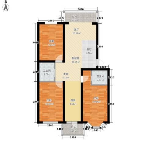 海富山水文园3室0厅2卫0厨120.00㎡户型图