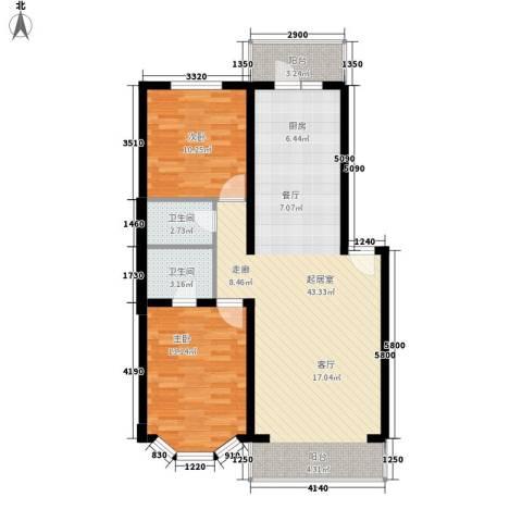 海富山水文园2室0厅2卫0厨106.00㎡户型图