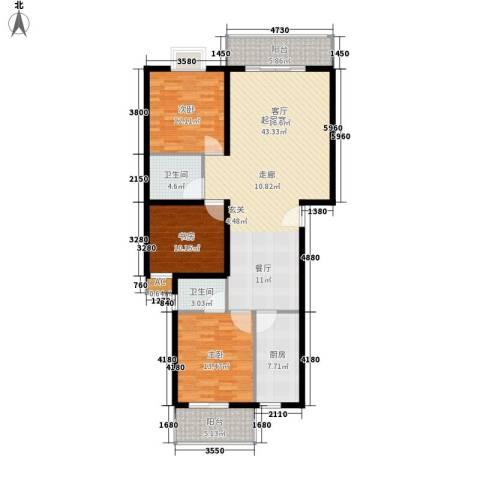 金龙花园二期3室0厅2卫1厨122.00㎡户型图
