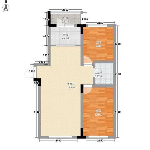 飞悦经典2室1厅1卫1厨90.00㎡户型图