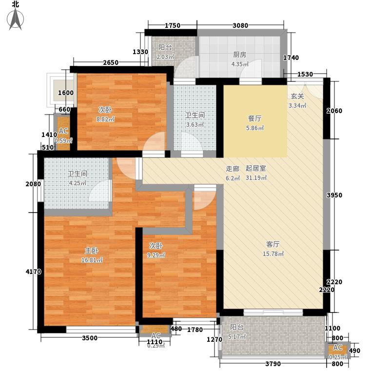 一品CG18.63㎡一期3号楼标准层A3户型3室2厅2卫1厨