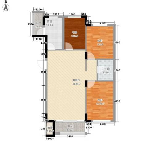 飞悦经典3室1厅1卫1厨107.00㎡户型图