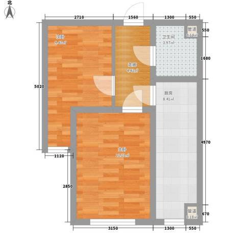 亿隆富贵名苑2室0厅1卫1厨45.00㎡户型图