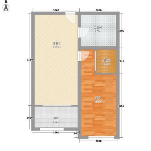 同心花园1室1厅1卫1厨77.00㎡户型图