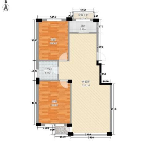 东翠鸣苑2室1厅1卫1厨90.00㎡户型图
